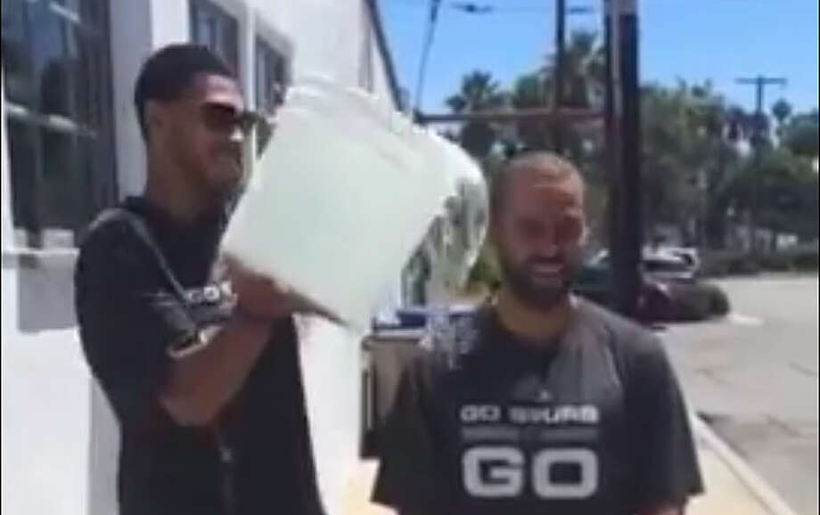 Tony Parker participates in the Ice Bucket Challenge. Photo: YouTube Screengrab