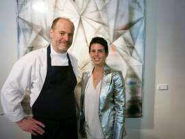 Chef Michael Tusk and gallerist Jessica Silverman at Hedge for Quince's cur/ATE pop-up dinner event. Aug. 2014. By Catherine Bigelow.