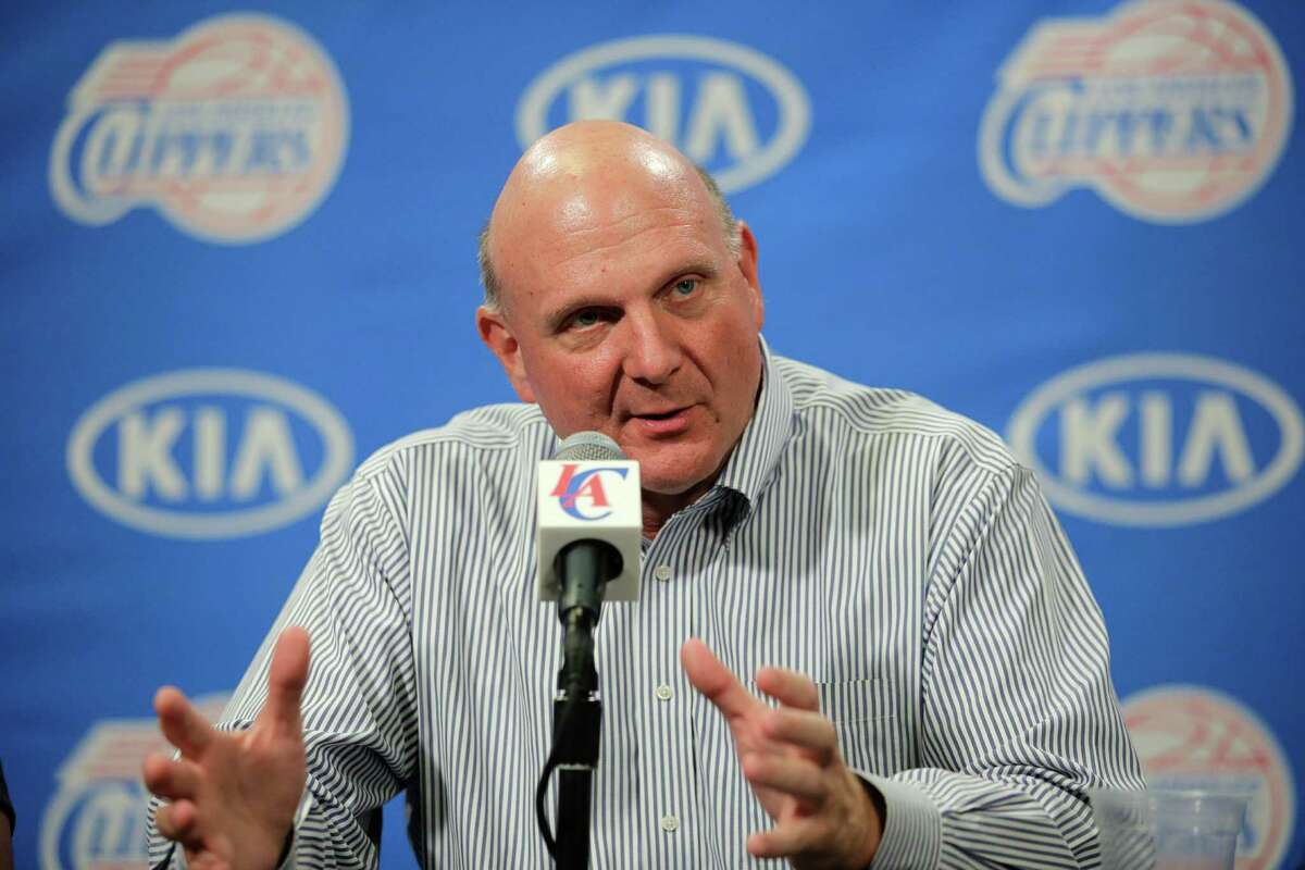 New Los Angeles Clippers owner Steve Ballmer speaks during a news conference held after the Clippers Fan Festival on Monday, Aug. 18, 2014, in Los Angeles. Ballmer paid a record $2 billion for the team in a sale that was confirmed by a judge last week. (AP Photo/Jae C. Hong) ORG XMIT: CAJH114