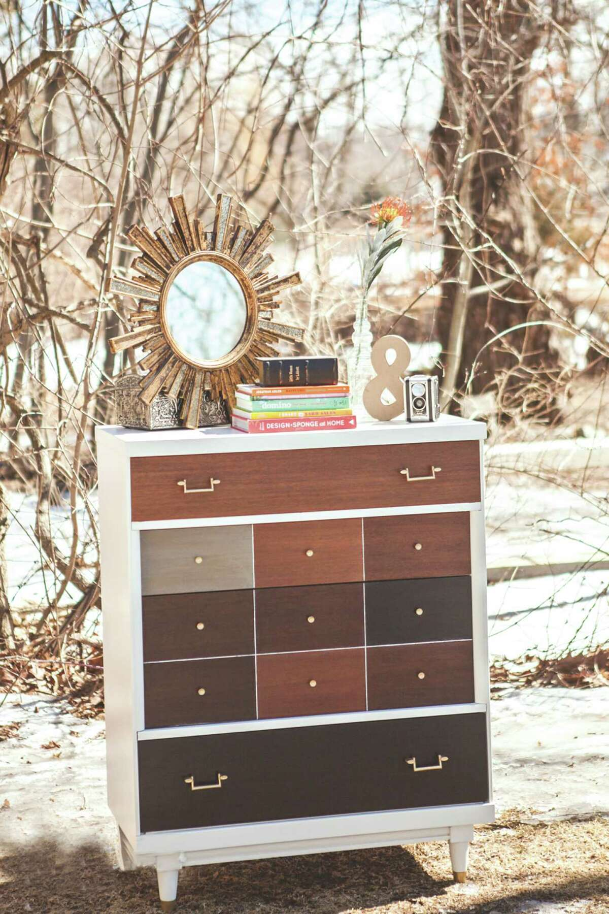 West Elm inspired patchwork dresser?... - Made by Sarah Trop of FunCycled (funcycled.com)
