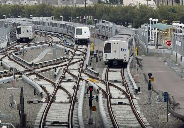 A file photo of BART trains at the Millbrae station. Photo: Chris Stewart, The Chronicle