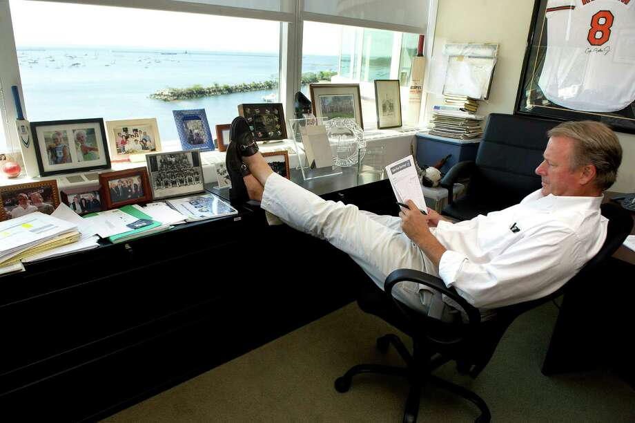 One World Sports CEO Sandy Brown sits in his Stamford office overlooking the water on Tuesday, August 19, 2014. Photo: Lindsay Perry / Stamford Advocate