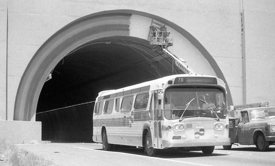 June 5, 1979: The rainbow arch over the Waldo Tunnel is painted by a work crew. The original rainbow was painted in 1970. Photo: John O'Hara, The Chronicle