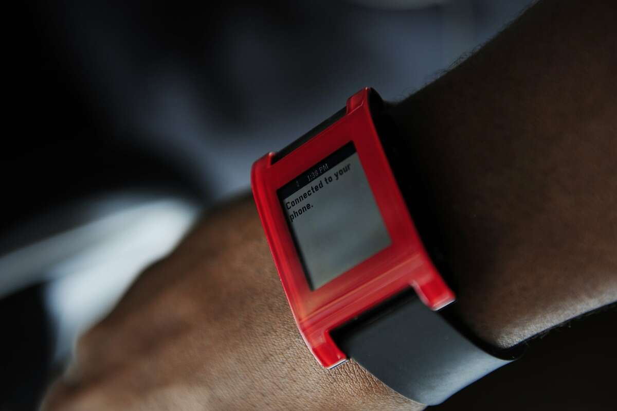 Jibril Jaha's watch which displays text from anyone who speaks into his phone is seen on August 18, 2014 in San Francisco, CA. Jaha, who is deaf, has created an application called