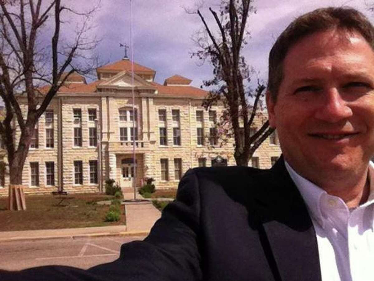 """Justice Jeff Boyd at the Medina County Courthouse. """"I couldn't find a soul in Hondo this morning, so I had to take my first #courthouseselfie at the 1893 Medina County courthouse,"""" he states on Facebook."""