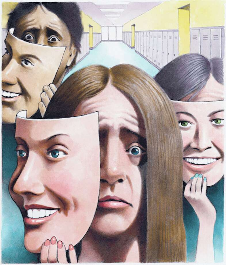 300 dpi Doug Griswold illustration of  stressed teenagers with happy-face masks; designed to accompany a story about rising levels of depression and phobias in high school students. (Bay Area News Group/MCT)BC-HEALTH-FAM-STUDENT-DEPRESSION:SJ, San Jose Mercury News by Sharon Noguchi   ORG XMIT: 1149026 Photo: Griswold / 2014 MCT