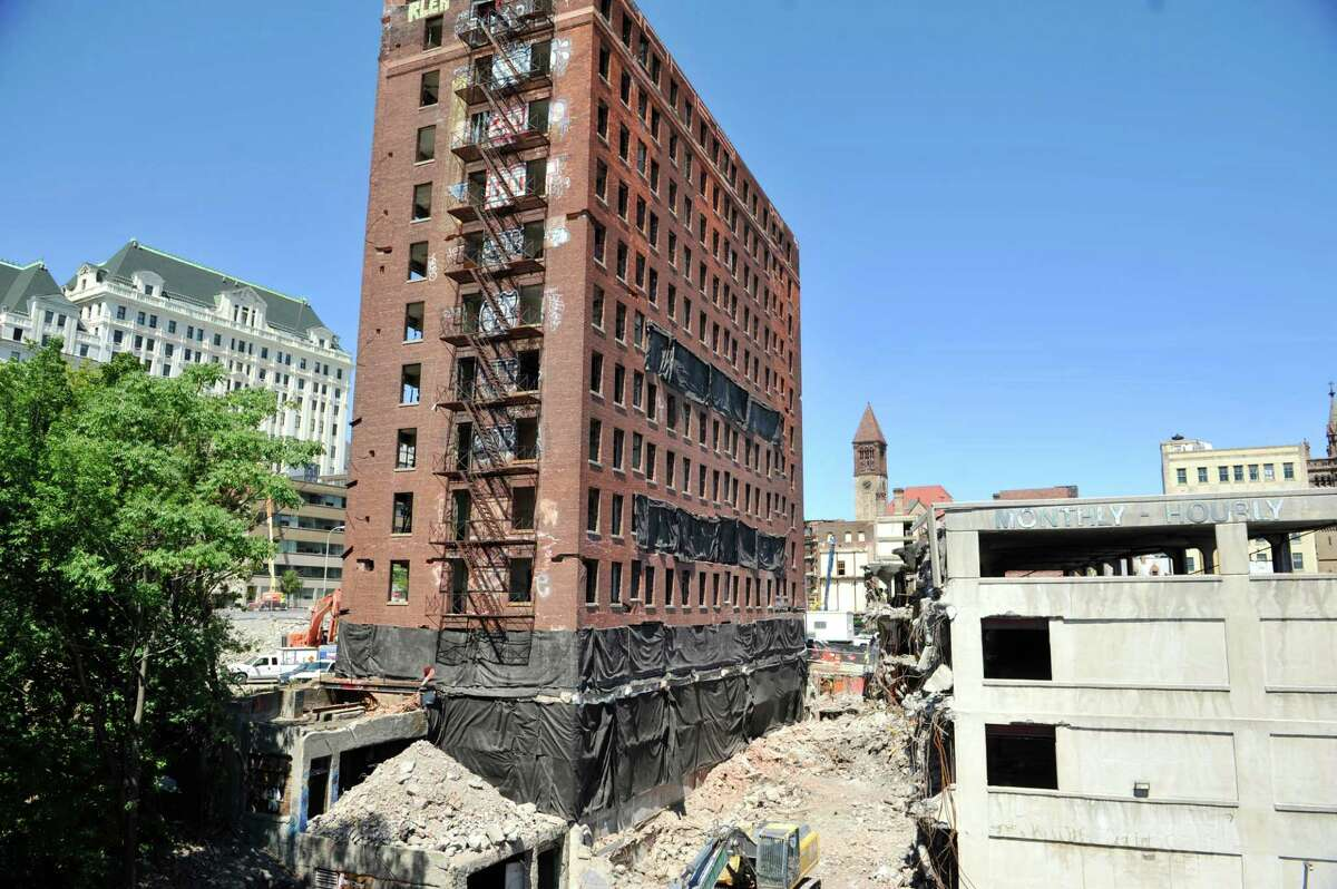 A view of the former Wellington Hotel Annex as workers continue preparation for the implosion of the building on Tuesday, Aug. 19, 2014, in downtown Albany, N.Y. (Paul Buckowski / Times Union)
