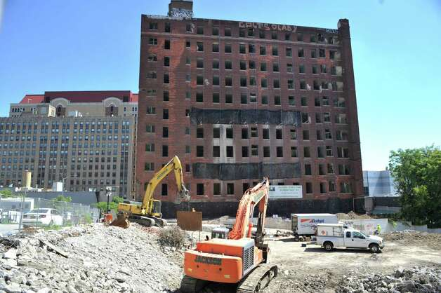 A view of the former Wellington Hotel Annex as workers continue preparation for the implosion of the building on Tuesday, Aug. 19, 2014, in downtown Albany, N.Y.   (Paul Buckowski / Times Union) Photo: Paul Buckowski / 00028232A
