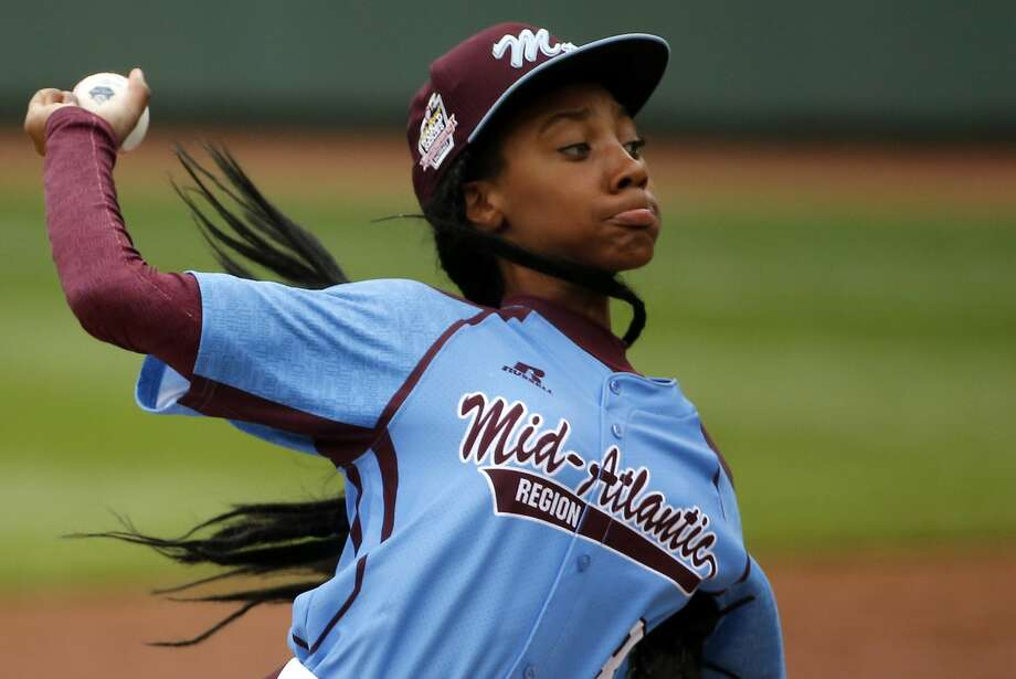 Pennsylvania's Mo'ne Davis delivers in the fifth inning against Tennessee during a baseball game in United States pool play at the Little League World Series tournament in South Williamsport, Pa., Friday, Aug. 15, 2014. Pennsylvania won 4-0 with Davis pitching a complete game two-hit shutout. AP Photo/Gene J. Puskar) Photo: Gene J. Puskar, Associated Press