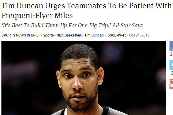 """""""Tim Duncan Urges Teammates To Be Patient With Frequent-Flyer Miles"""""""
