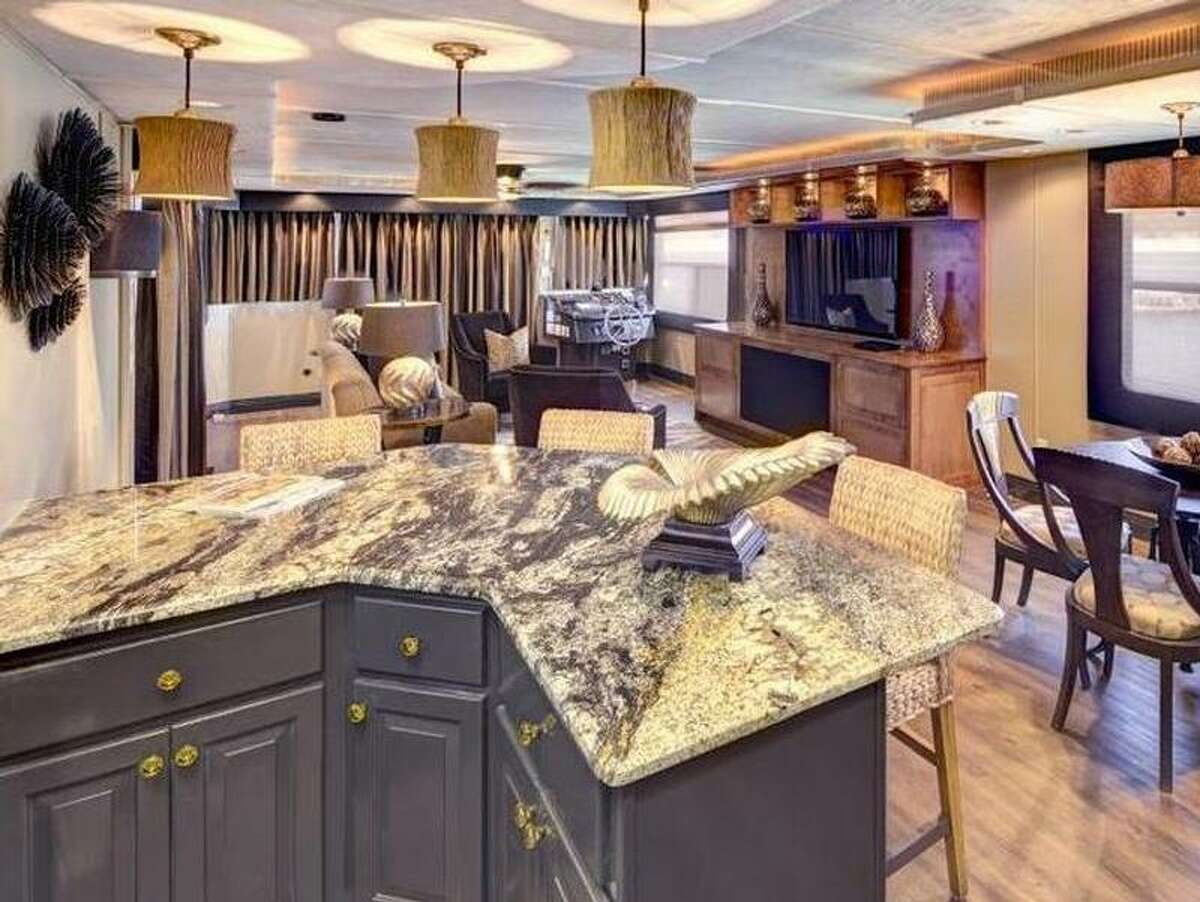 Location: AustinPrice: Starts at $5,995 for a three-day weekendCarpe Diem, sitting on Lake Travis in Austin, has a sun deck, swim platform and a single jet ski ramp. This boat also has five bedrooms and satellite TV.