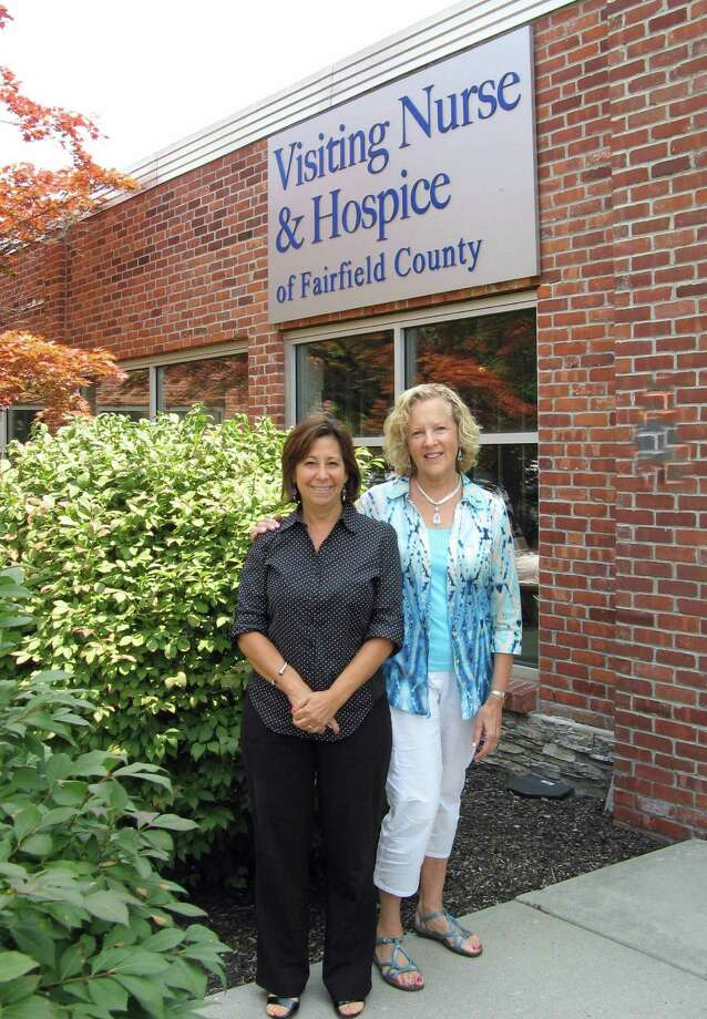 Phyllis Osterman, right, is a hospice volunteer with Visiting Nurse & Hospice of Fairfield County. She is pictured  with the nonprofit agency's volunteer coordinator, Laurie Petrasanta. Photo: Contributed Photo, Contributed / New Canaan News Contributed