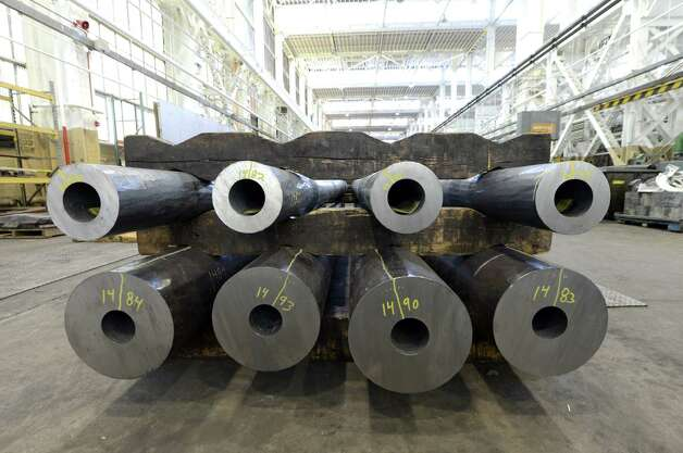 120 mm smoothbore gun barrels used on Abrams tanks are stored prior heat treatment Tuesday, Aug. 19, 2014, at the Watervliet Arsenal in Watervliet, N.Y. (Will Waldron/Times Union) Photo: WW