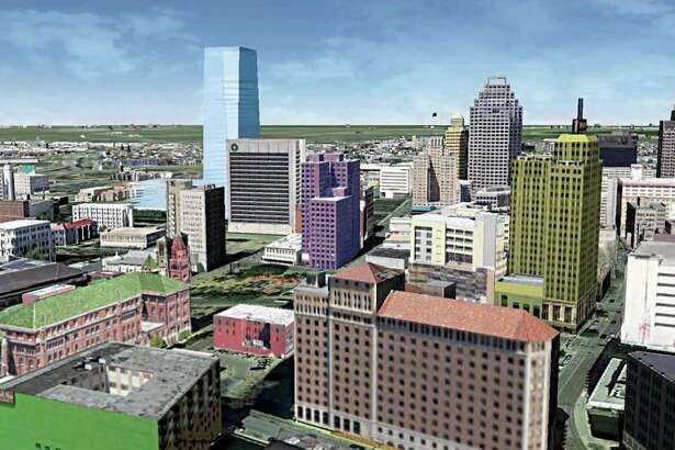 This rendering  shows what a new office tower — proposed by Weston Urban — would look like in context to the rest of downtown. The actual tower has yet to be designed.