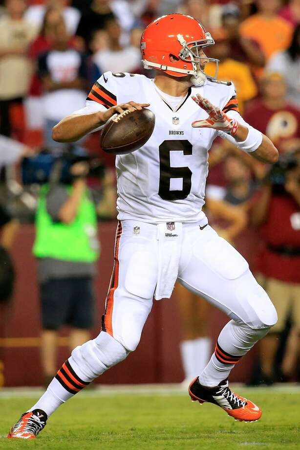 Brian Hoyer, entering his sixth season, has played in 18 games, completing 114 of 192 passes (seven TDs, six interceptions). Photo: Rob Carr, Getty Images