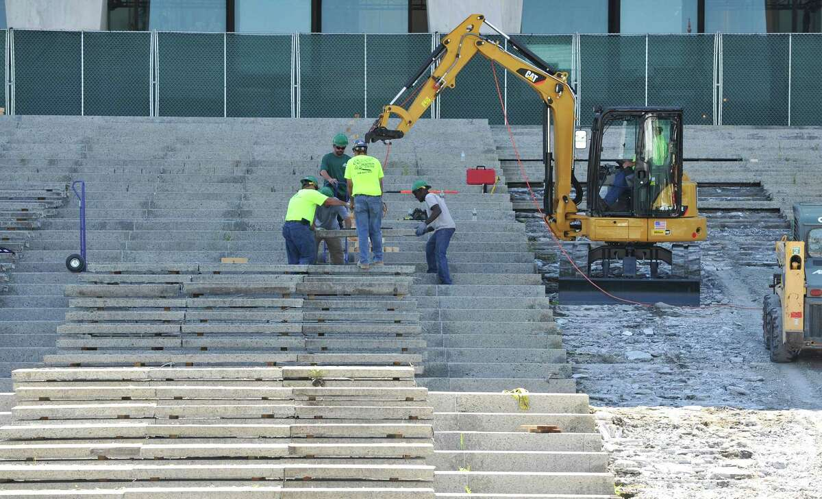 Work continues on the stairs leading from the Empire State Plaza to the New York State Museum on Tuesday, Aug. 19, 2014, Albany, N.Y. (Paul Buckowski / Times Union)