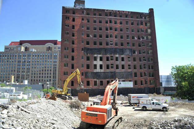 A view of the former Wellington Hotel Annex as workers continue preparation for the implosion of the building on Tuesday, Aug. 19, 2014, in downtown Albany, N.Y.   (Paul Buckowski / Times Union) Photo: Paul Buckowski, Albany Times Union / 00028232A