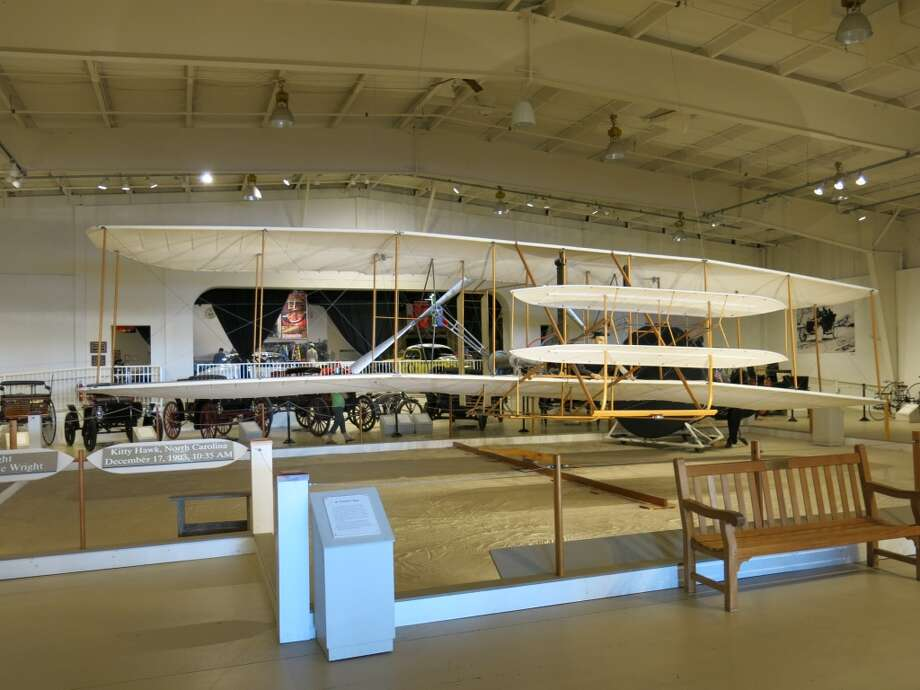 Museum exhibit: replica of the 1903 Kitty Hawk flyer. (The original is in the National Air and Space Museum.)