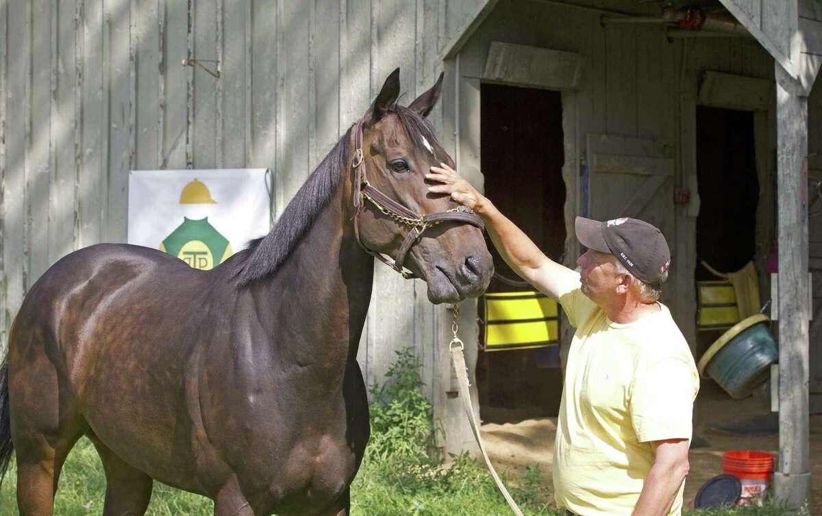 Trainer Gary Gullo pets Take Down Two outside his barn. (Tom Keyser)