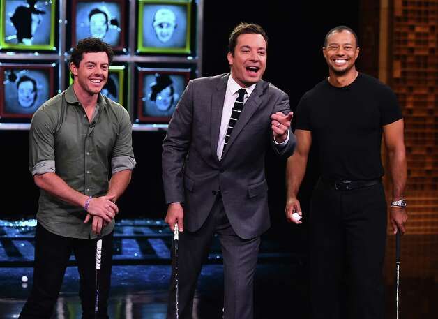"""NEW YORK, NY - AUGUST 18:  Tiger Woods & Rory Mcllroy Visit """"The Tonight Show Starring Jimmy Fallon"""" at Rockefeller Center on August 18, 2014 in New York City.  (Photo by Theo Wargo/NBC/Getty Images for """"The Tonight Show Starring Jimmy Fallon"""") ORG XMIT: 507436223 Photo: Theo Wargo/NBC / 2014 NBCUniversal Media, LLC"""