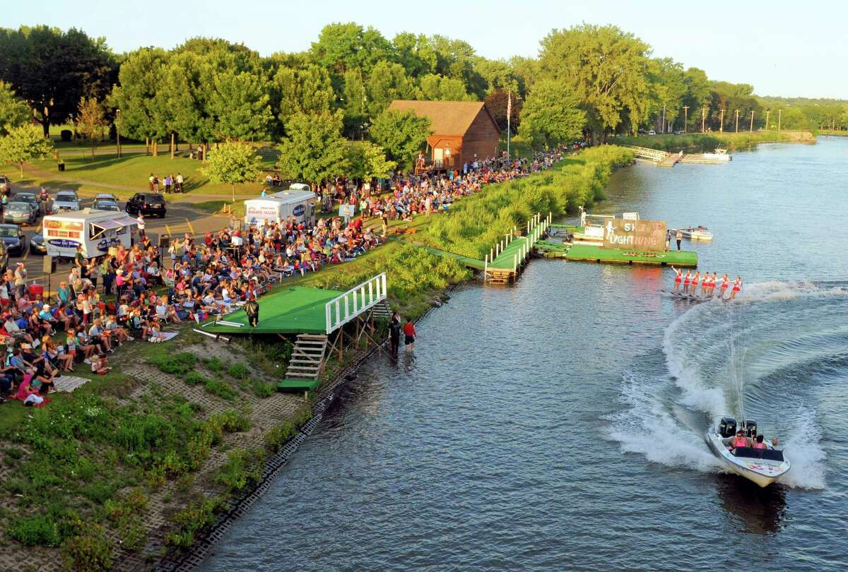 Members of the U.S. Water Ski Show Team perform on the Mohawk River at Jumpin' Jack's on Tuesday Aug.19, 2014 in Scotia, N.Y. They have one more date left for the season Tuesday August 26th at 6:30pm .(Michael P. Farrell/Times Union)