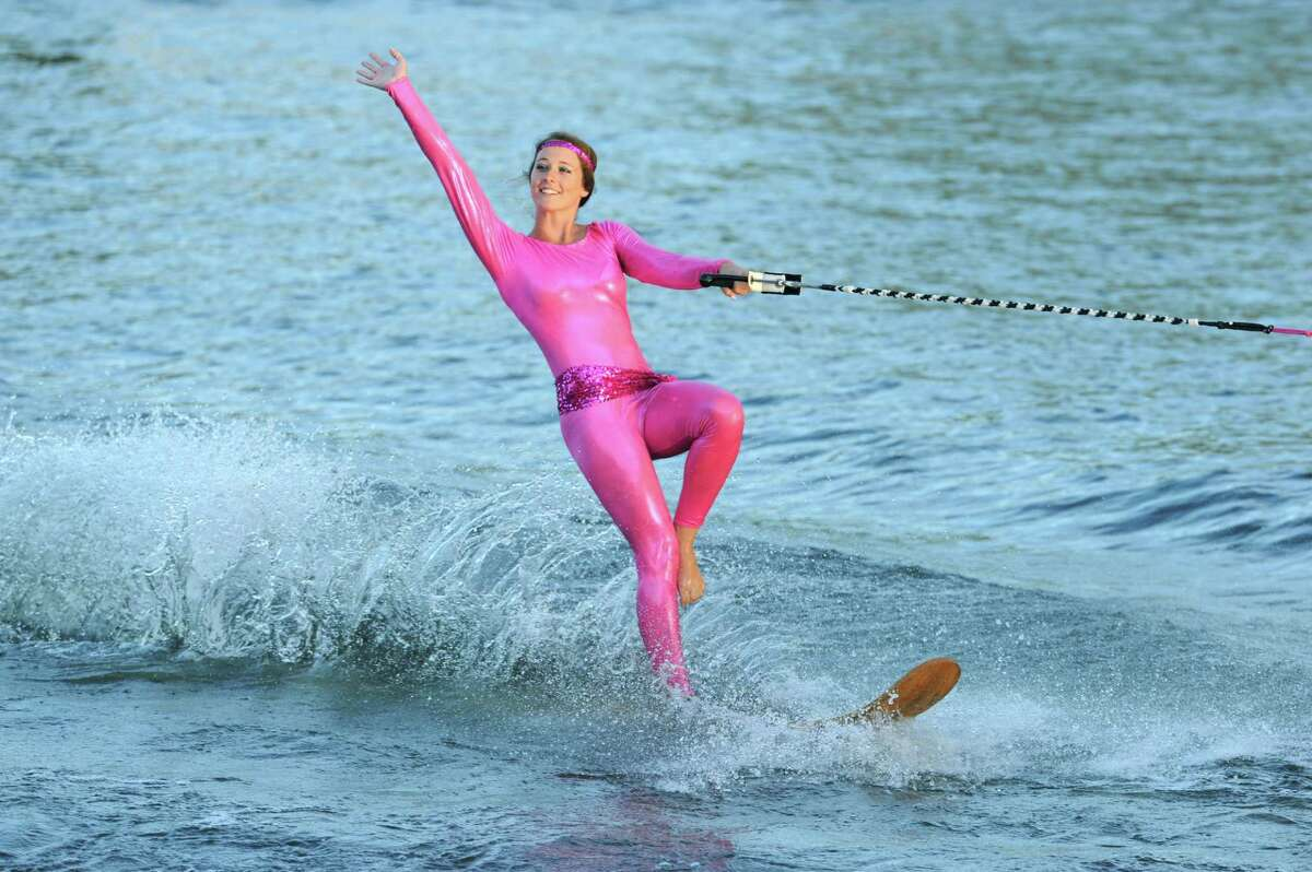 A member of the U.S. Water Ski Show Team perform on the Mohawk River at Jumpin' Jack's on Tuesday Aug.19, 2014 in Scotia, N.Y. They have one more date left for the season Tuesday August 26th at 6:30pm .(Michael P. Farrell/Times Union)