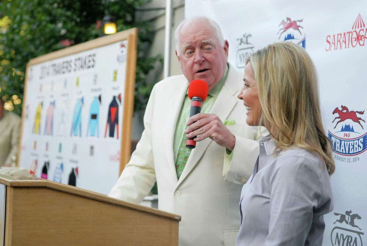 Race caller Tom Durkin interviewed trainer Linda Rice who will be running Kid Cruz at the press conference for the Saratoga Race Course Travers Draw, which will be held this Saturday August 23rd, 2014. Thursday, Aug. 19, 2014, at Druthers in Saratoga Springs, N.Y. (Erica Miller/ Special to the Times Union)