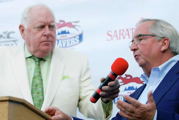 Race caller Tom Durkin interviewed trainer Shug McGaughey who will be running Mr Speaker at the press conference for the Saratoga Race Course Travers Draw, which will be held this Saturday August 23rd, 2014.             Thursday, Aug. 19, 2014, at Druthers in Saratoga Springs, N.Y. (Erica Miller/ Special to the Times Union) Photo: Erica Miller /  ©Tom Brenner/ Albany Times Union