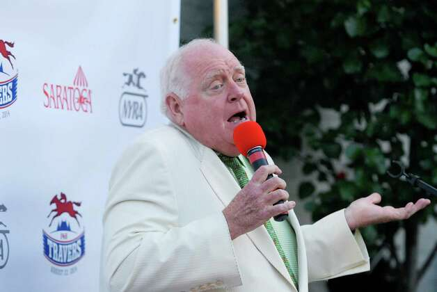 Before his retirement at the end of the month, Tom Durkin introduced the draw at the press conference for the Saratoga Race Course Travers Draw, which will be held this Saturday August 23rd, 2014.             Thursday, Aug. 19, 2014, at Druthers in Saratoga Springs, N.Y. (Erica Miller/ Special to the Times Union) Photo: Erica Miller /  ©Tom Brenner/ Albany Times Union