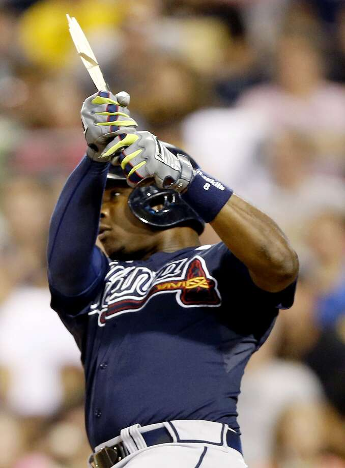 Justin Upton broke his bat but drove in two runs with his fifth-inning single. Photo: Keith Srakocic, Associated Press