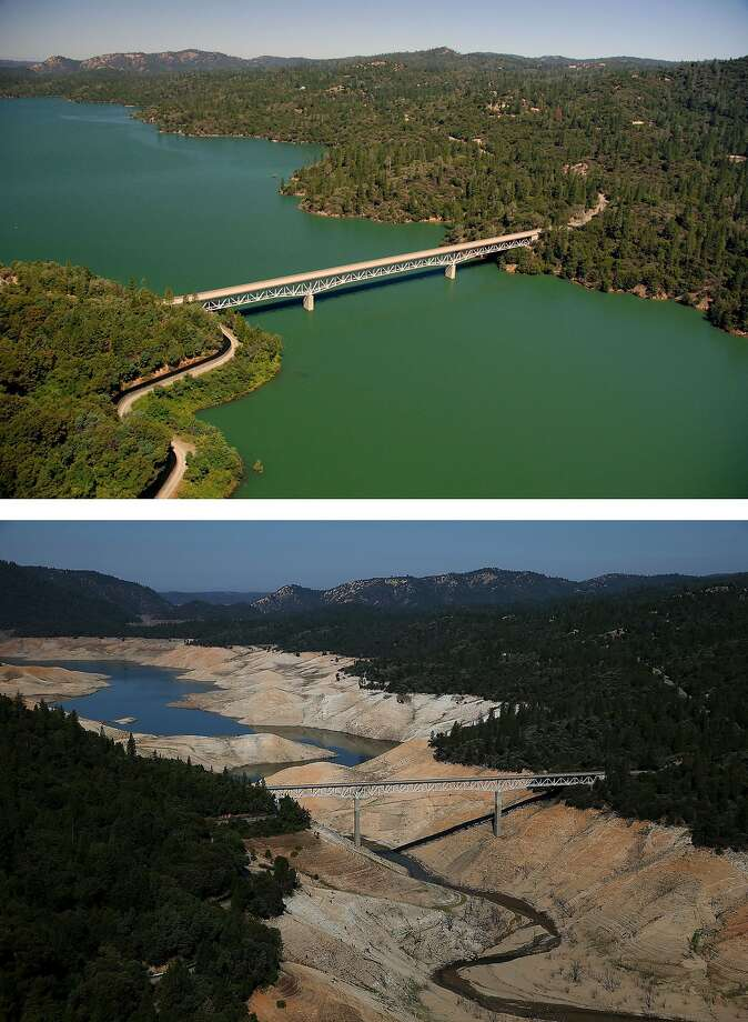 OROVILLE, CA - JULY 20:  In this before-and-after composite image, (Top) The Green Bridge passes over full water levels at a section of Lake Oroville near the Bidwell Marina on July 20, 2011 in Oroville, California. (Photo by Paul Hames/California Department of Water Resources via Getty Images) OROVILLE, CA - AUGUST 19:  (Bottom) The Enterprise Bridge passes over a section of Lake Oroville that is nearly dry on August 19, 2014 in Oroville, California. As the severe drought in California continues for a third straight year, water levels in the State's lakes and reservoirs is reaching historic lows. Lake Oroville is currently at 32 percent of its total 3,537,577 acre feet.  (Photo by Justin Sullivan/Getty Images) Photo: Justin Sullivan, Getty Images