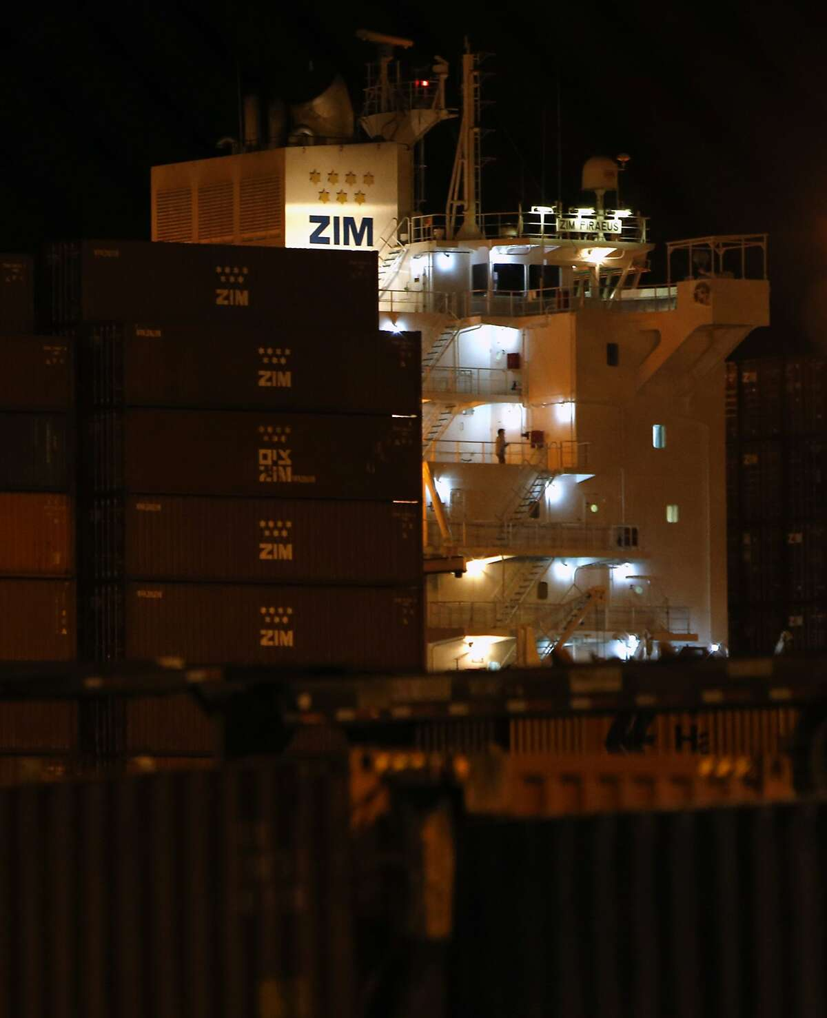 The Israeli owned ship Zim Piraeus docked in the Port of Oakland in Oakland, Calif. on Tuesday, August 19, 2014.