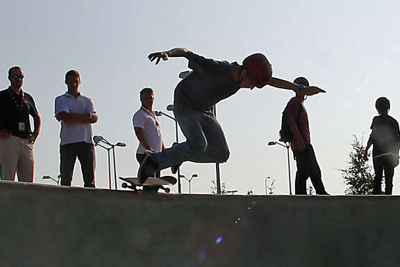Seth Spain catches some air at the Spring Skatepark. Admission is free, but riders must wear helmets.