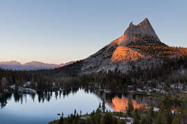 Cathedral Peak and Upper Cathedral Lake in Yosemite National Park.