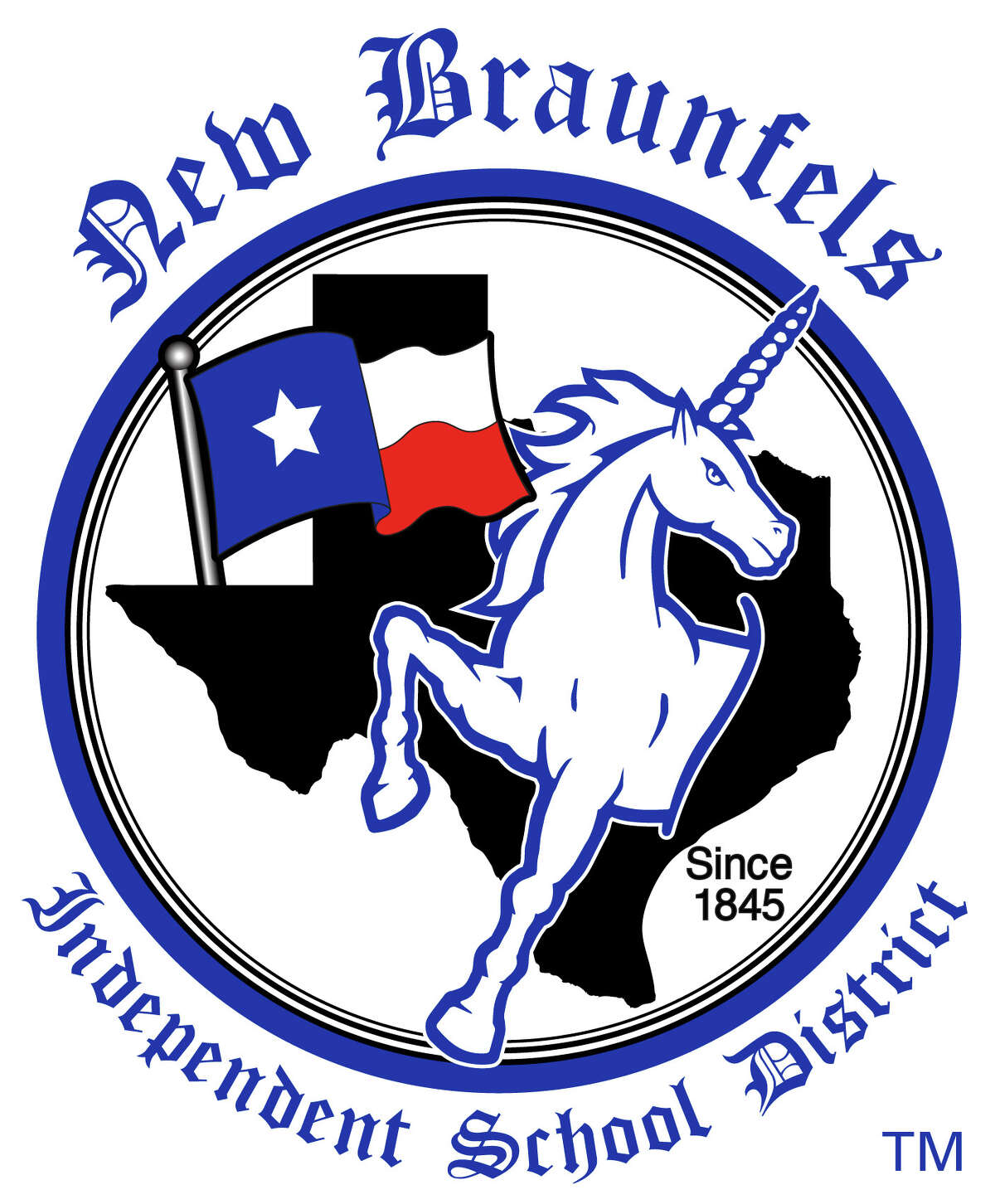 After years of peppering yearbooks and district materials with disparate logos, New Braunfels ISD's board of trustees voted to seek a state-level trademark for their unicorn emblem. This is the official version approved by the district's board of trustees Monday night.