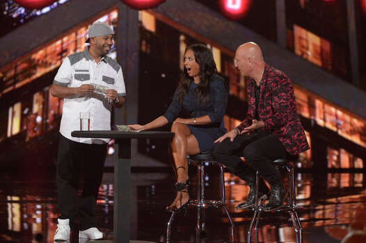 AMERICA'S GOT TALENT -- Episode 916 -- Pictured: (l-r) Smoothini, Mel B, Howie Mandel -- (Photo by: Virginia Sherwood/NBC) Photo: NBC, Virginia Sherwood/NBC / 2014 NBCUniversal Media, LLC.