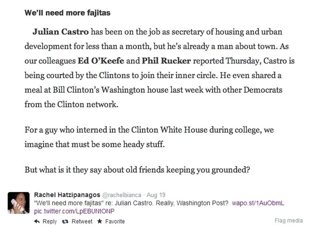 """The subhead """"We'll need more fajitas"""" appeared in a August 19, 2014, Washington Post article in print and online in an article about HUD Secretary Julian Castro"""