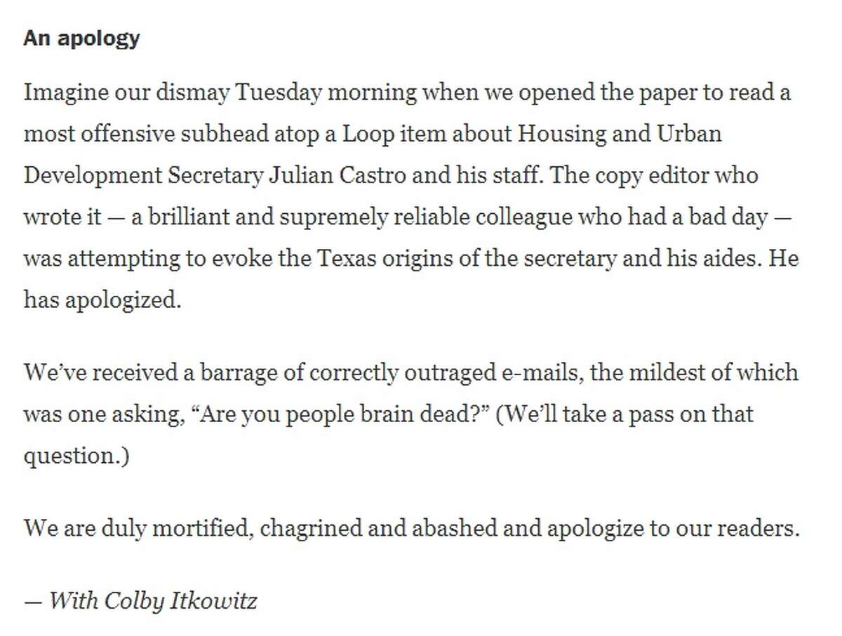 The apology issued by the Washington Post