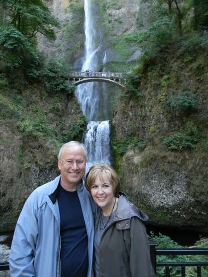 Corinne Yancy Gamel and Alan Gamel at Multnomah Falls, Oregon,  Oct. 2012. Photo: Picasa, Courtesy Photo