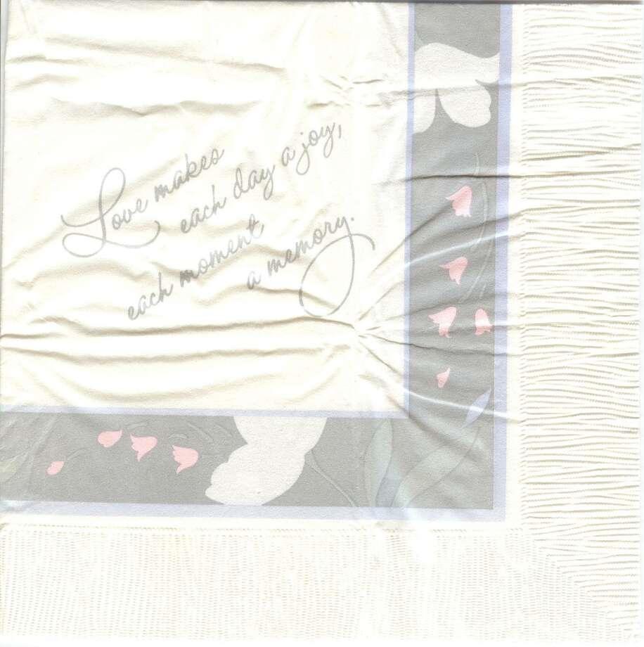 The napkin from Carol and Allan Jenkins' wedding. Photo: Courtesy Photo