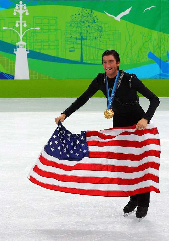 VANCOUVER, BC - FEBRUARY 18:  Evan Lysacek of the United States celebrates after winning the gold medal in the men's figure skating free skating on day 7 of the Vancouver 2010 Winter Olympics at the Pacific Coliseum on February 18, 2010 in Vancouver, Canada.  (Photo by Cameron Spencer/Getty Images) *** Local Caption *** Evan Lysacek Photo: Cameron Spencer, Getty Images / 2010 Getty Images