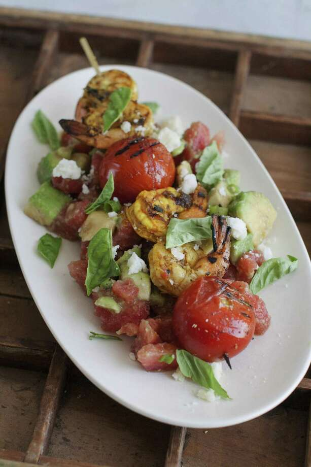 This July 21, 2014 photo shows curried shrimp salad in Concord, N.H. The side dish can act as a compliment to a grilled main course for Labor Day. (AP Photo/Matthew Mead) ORG XMIT: MER2014081400311895 Photo: Matthew Mead / FR170582 AP