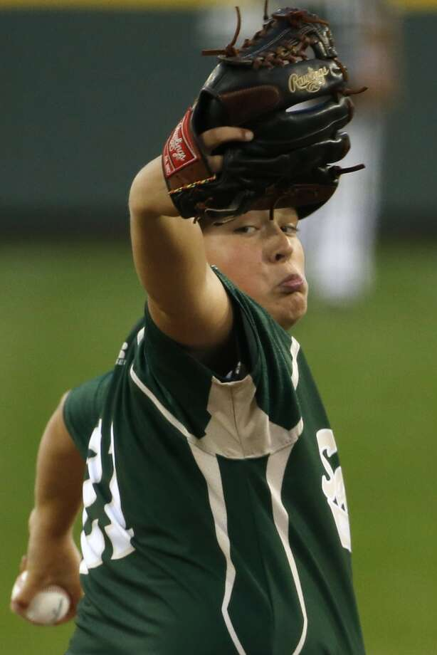 Pearland pitcher Walter Maeker III delivers during the first inning of an elimination baseball game against Chicago at the Little League World Series tournament in South Williamsport, Pa., Tuesday, Aug. 19, 2014. Chicago won 6-1. (AP Photo/Gene J. Puskar) Photo: Gene J. Puskar, Associated Press