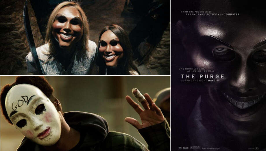 "In the popular ""Purge"" horror film franchise, a government-allowed night of lawlessness leads to anarchy. A social media trend based upon the franchise teases to a real-life version of the Purge taking place in Texas, causing fear for some on Facebook and Twitter. (Photos: (Clockwise from top left) Trouble comes knocking in 2013's ""The Purge"" from Universal Pictures; a teaser poster from ""The Purge;"" Keith Stanfield as Young Goul Face in ""The Purge: Anarchy"" from Universal Pictures. Photo: Universal Pictures"