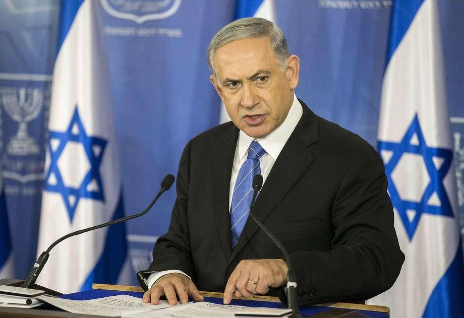 Israeli Prime Minister Benjamin Netanyahu delivers a statement on Gaza in Tel Aviv. Photo: Jack Guez, AFP/Getty Images