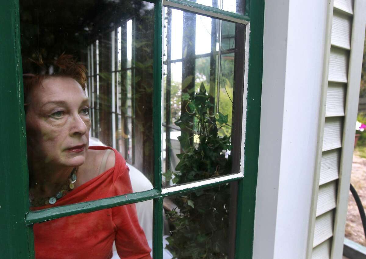 Judith Pynn looks out the window of her Sunset District home in San Francisco, Calif. after hanging a suet bird feeder in the backyard on Wednesday, Aug. 20, 2014. Pynn is among the first residents in the city to sign up for a program designed to curtail bird deaths from collisions with windows in residential buildings after a bird struck a second floor window of her home and died.