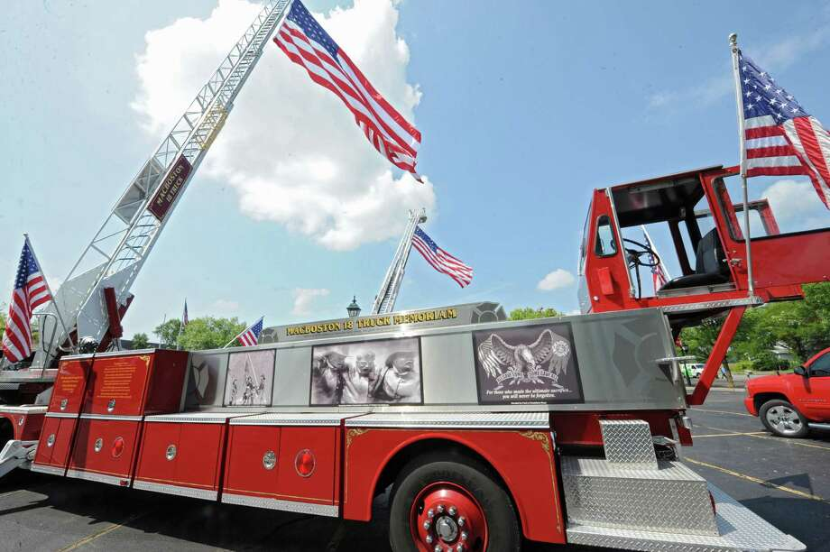 The MacBoston 18 Truck Fallen Firefighters Memorial is on display in the parking lot at the Desmond Hotel & Conference Center Wednesday, Aug. 20, 2014 in Colonie, N.Y. (Lori Van Buren / Times Union) Photo: Lori Van Buren / 00028250A