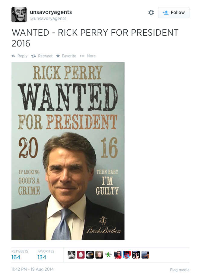 Los Angeles artist Sabo tweeted out a poster he created using Rick Perry's mug shot.