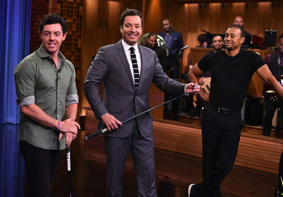 "Rory McIlroy (left), golf's hottest player, appears with Tiger Woods (right) on ""The Tonight Show Starring Jimmy Fallon."" Photo: Theo Wargo/NBC"
