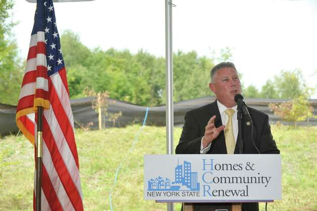 Assemblyman John McDonald III, addresses those gathered for a groundbreaking event for the new Lion Heart Residences of Cohoes on Wednesday, Aug. 20, 2014, in Cohoes, N.Y.A  The housing will consist of 72 affordableA  units.A    (Paul Buckowski / Times Union) Photo: Paul Buckowski / 00028235A